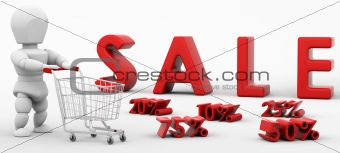 3D render of a man shopping in the sale
