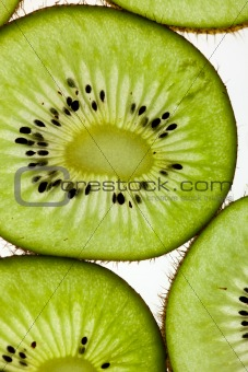 Sliced Kiwifruit isolated on white