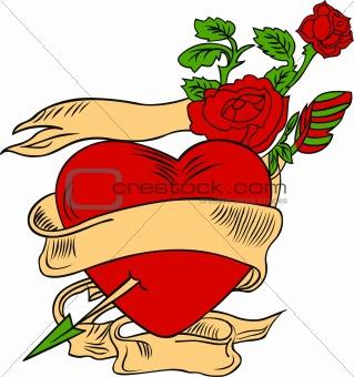 beautiful rose and heart emblem
