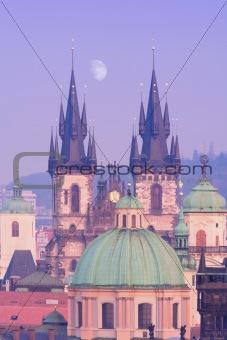 czech republic, prague - towers of tyn church at dusk