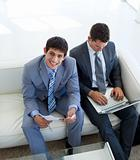 Businessmen waiting for a job interview