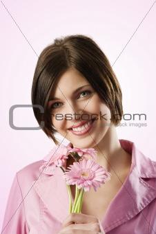 beautiful pink smiling girl