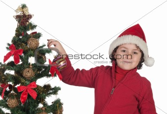 Beautiful child with Christmas trees