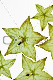 Sliced Carambola Starfruit isolated on white