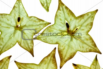 Sliced Carambola Starfruit isolated on white