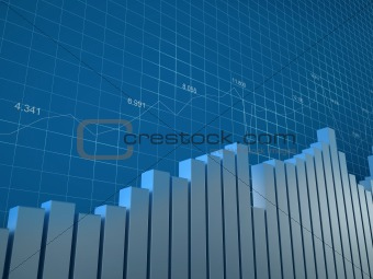 Chart and numbers (background with bargraphs, grid and numbers to use in reports, presentations)