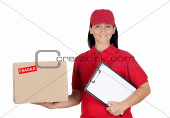 Beautiful dealer with box and clipboard