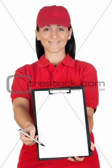 Beautiful dealer with clipboard with focus on face