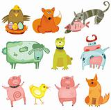 Cute animals- vector set.