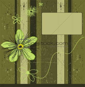 Grunge green flower background