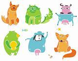 Cute animals- vector set