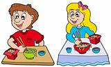 Boy and girl eating Chinese food