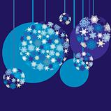 Blue New Year`s baubles
