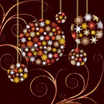 Christmas Baubles golden  card