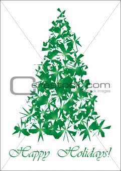 Green Torn Christmas tree  gold