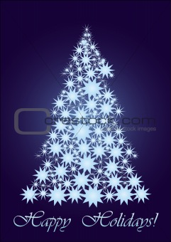 Blue  Starry Christmas tree  gold