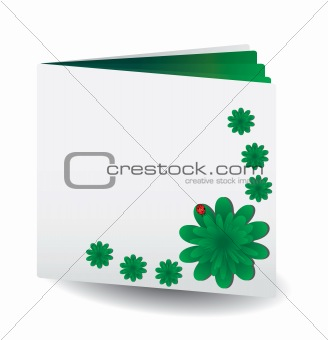 Green book with flowers
