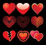 Set of 9 red hearts on black background
