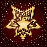 Golden stars on brown background