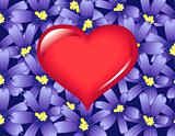 Red Heart and Violet flowers