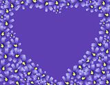Crop Heart made of Violet flowers