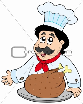 Cartoon chef with roasted meat
