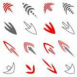 Vector set of art arrows.