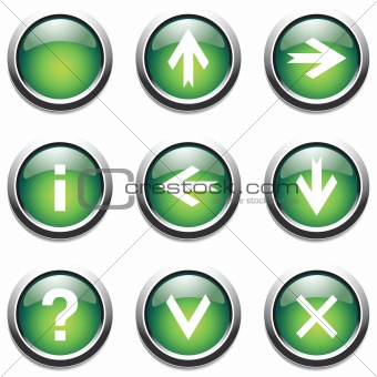 Green buttons with signs.