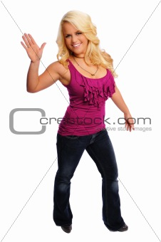 blonde woman waving
