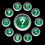 Glossy green buttons with symbols. Set.