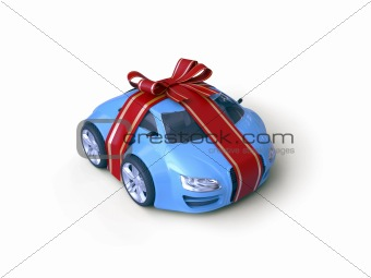 Car Gift (Gift stripe over little car with a bow)