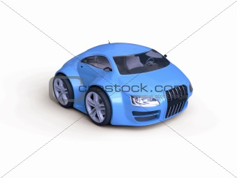 Baby Coupe Front View  (Little Blue Tiny Isolated Concept Car)