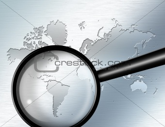 Magnify Glass focus on South America