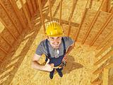 positive carpenter in construction site