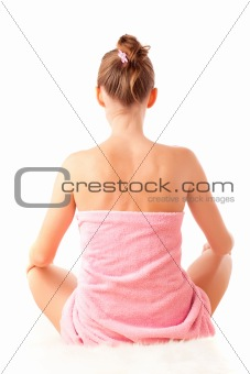 Back of sitting beautiful young woman