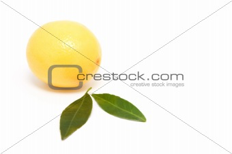 Bright, ripe lemon with leaves.