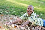 Young African American Boy Having Fun in the Park.