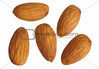 Almonds, isolated