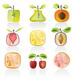 Abstract fruit icons