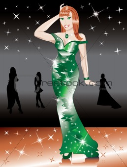 Formal Green Gown Woman