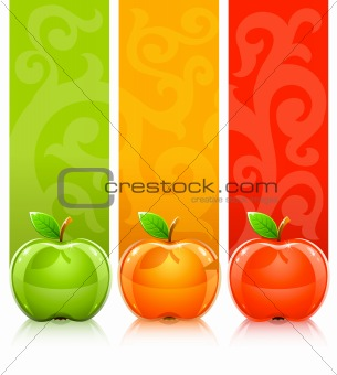 ... three coloured apples on decorative background - vector illustration