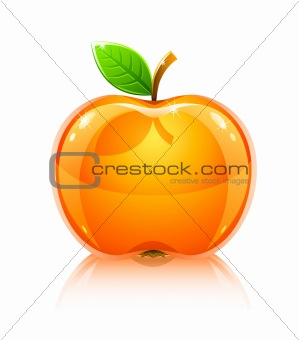 glossy glass yellow apple fruit with leaf