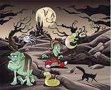 Horror landscape with characters.