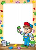 Frame with cartoon house painter