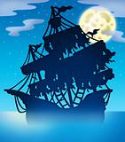 Mysterious ship silhouette at night