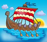 Viking boat on sea