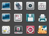 Vector universal square icons. Part 8. Computers (gray background)
