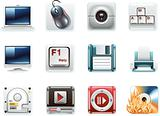 Vector universal square icons. Part 8. Computers (white background)