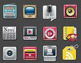 Vector universal square icons. Part 7. Media and communications (gray background)