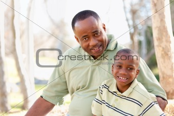 Attractive African American Man and Child Having Fun in the Park.